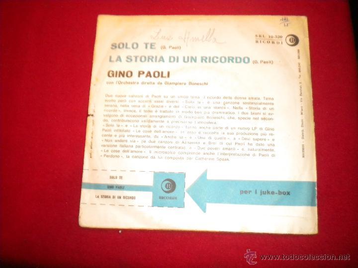 Discos de vinilo: Gino Paoli - La storia di un recordo - Ricordi - Foto 2 - 47698981