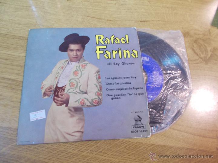 RAFAEL FARINA. LOS IGUALES PARA HOY. COMO LAS PIEDRAS. COMO SUSPIROS DE ESPAÑA. QUE GUARDAN TO LO (Música - Discos de Vinilo - EPs - Flamenco, Canción española y Cuplé)