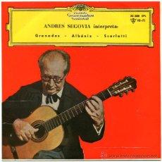 Discos de vinilo: ANDRES SEGOVIA - INTERPRETA GRANADOS, ALBÉNIZ, SCARLATTI - EP SPAIN 1962 - DEUTSCHE GRA. 30 588 EPL. Lote 47705969
