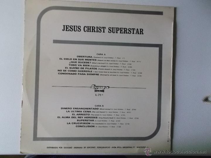 Discos de vinilo: JESUS CHRIST SUPERSTAR OLYMPO RECORDS 1972 ED ESPAÑOLA - Foto 3 - 47715202
