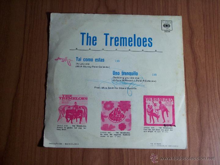 Discos de vinilo: THE TREMELOES (TAL COMO ESTAS / UNO TRANQUILO) CBS 1968 - Foto 2 - 47719758
