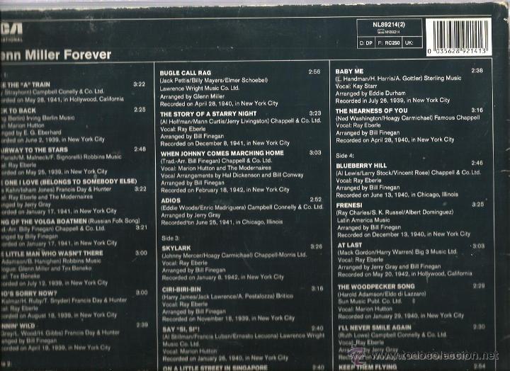 Discos de vinilo: DOBLE LP GLENN MILLER FOREVER ( 32 TEMAS INSTRUMENTALES CON LA ORQUESTA DE GLENN MILLER ) - Foto 2 - 47722222