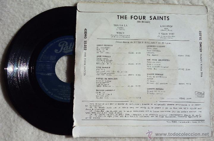 Discos de vinilo: 4 SAINTS, THE - TRA LA LA +3 (PATHE 1959) SINGLE EP ESPAÑA - FOUR - Foto 2 - 47744459