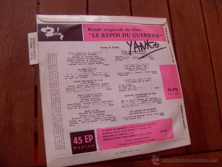 Discos de vinilo: LE REPOS DU GUERRIER BRIGITTE BARDOT EP ORIGINAL SOUNDTRACK MADE IN FRANCE 1962 - Foto 3 - 47776640