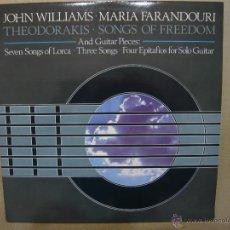 Discos de vinil: JOHN WILLIAMS / MARIA FARANDOURI / MIKIS THEODORAKIS. SONGS OF FREEDOM AND GUITAR PIECES. CBS LP. Lote 47777121