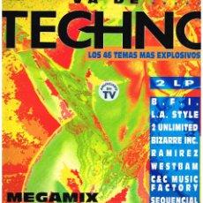 Discos de vinilo: VA DE TECHNO. LOS 46 TEMAS MÁS EXPLOSIVOS. MEGAMIX - DOBLE LP 1993 - BUEN ESTADO. Lote 47821607