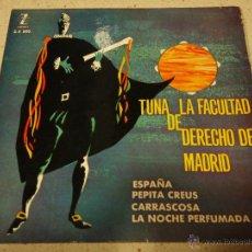 Discos de vinilo: TUNA DE LA FACULTAD DE DERECHO DE MADRID ( ESPAÑA - PEPITA CREUS - CARRASCOSA - LA NOCHE PERFUMADA ). Lote 47822745