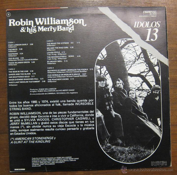 Discos de vinilo: ROBIN WILLIAMSON & HIS MERRY BAND - 1980 - Foto 2 - 47834965