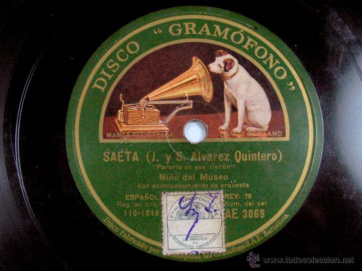 SAETA. NIÑO DEL MUSEO. DISCO GRAMOFONO. FLAMENCO (Música - Discos - Singles Vinilo - Clásica, Ópera, Zarzuela y Marchas)