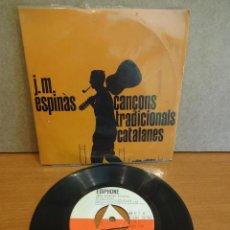 Discos de vinilo: J.M. ESPINÀS. CANÇONS TRADICIONALS CATALANES. EP / EDIPHONE - 1962. VINILO DE LUJO. ***/****. Lote 47876439