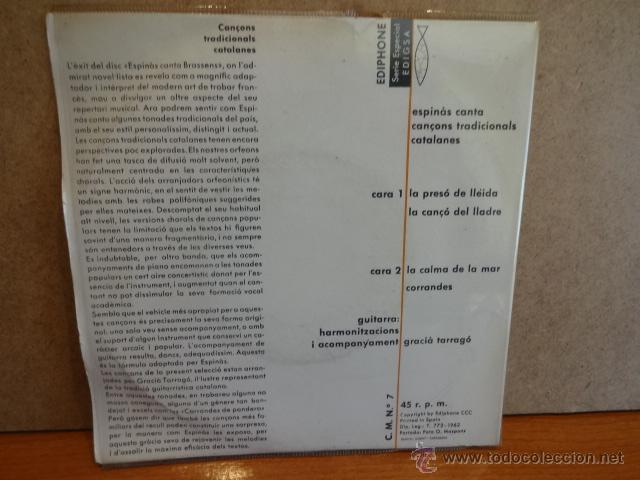 Discos de vinilo: J.M. ESPINÀS. CANÇONS TRADICIONALS CATALANES. EP / EDIPHONE - 1962. VINILO DE LUJO. ***/**** - Foto 2 - 47876439