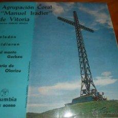 Discos de vinilo: AGRUP. CORAL MANUEL IRADIER DE VITORIA.- CELEDON/ ZALDIARAN/ EN EL MONTE GORBEA +1 - EP 1963. Lote 47879284