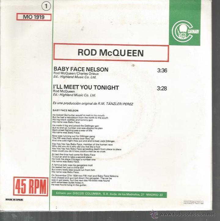 Discos de vinilo: SG ROD MCQUEEN : BABY FACE NELSON - Foto 2 - 47926680