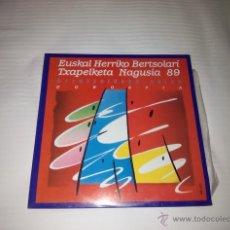 Discos de vinilo: LP DOBLE + PORTADA DOBLE 33 RPM / EUSKAL HERRIKO BERTSOLARI TXAPELKETA 89 / ELKAR. Lote 254714595