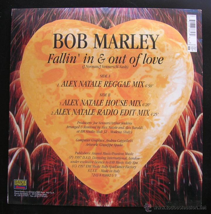 Discos de vinilo: Bob Marley.Fallin´in & out of love.Remix by Alex Natale. MAXI SINGLE DANCE FACTORY.Made in ITALY - Foto 2 - 47942071
