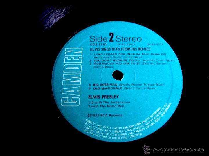 Discos de vinilo: ELVIS PRESLEY : Elvis sings hits from his movies plus two recent hits (VG+/EX), RCA CAMDEN CDS 1110 - Foto 8 - 113781087