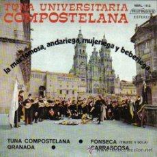 Discos de vinilo: TUNA UNIVERSITARIA COMPOSTELANA - GRANADA / FONSECA TRISTE Y SOLA / CARRASCOSA - MUY BUEN ESTADO. Lote 47989794