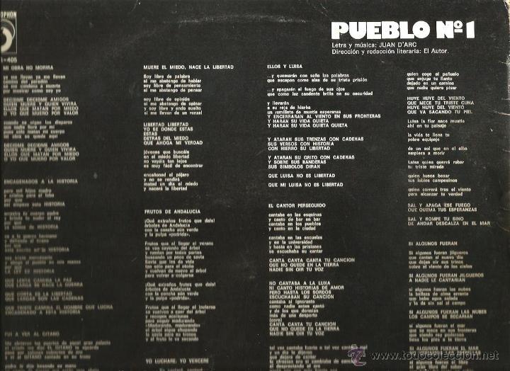 Discos de vinilo: LP PUEBLO Nº 1 ( JUAN D´ARC ) ( MARC GRAU, LA BANDA TRAPERA DEL RIO ) - Foto 2 - 48000564