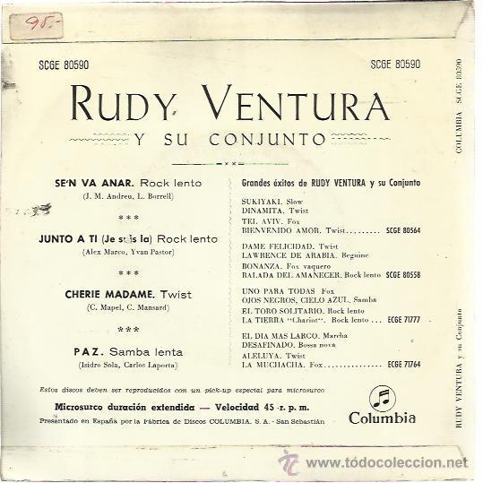 Discos de vinilo: RUDY VENTURA Y SU CONJUNTO EP COLUMBIA 1963 se'n va anar/ cherie madame/ paz/ junto a ti - Foto 2 - 48020379