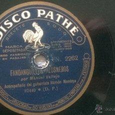 Discos de vinilo: DISCO PIZARRA FANDANGUILLOS ALOSNEROS TARANTAS DE VALLEJO N2 GUITARRA RAMON MONTOYA. Lote 48222223