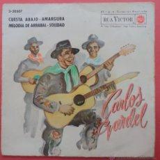 Discos de vinilo: CARLOS GARDEL,CUESTA ABAJO,AMARGURA,MELODIA DEL ARRABAL,SOLEDAD.. Lote 48300979