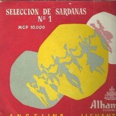 Discos de vinilo: COBLA BARCELONA 10´ (25 CTMS.) DEL SELLO ALHAMBRA AÑO 1953 SELECCION DE SARDANAS Nº1. Lote 48307556