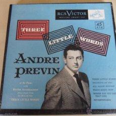 Discos de vinilo: ADRE PREVIN. THREE LITTLE WORDS. ESTUCHE CON 3 SINGLES. RCA VICTOR, ESTADOS UNIDOS, AÑOS 50. 180 GRA. Lote 48317032