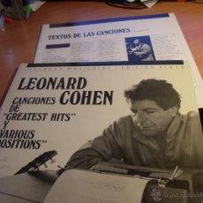 Discos de vinilo: LEONARD COHEN (GREATEST HITS + VARIOUS POSITIONS) 2 LP LEYENDAS MUSICALES EDICION PLATA (M/M) (VIN15. Lote 48359526