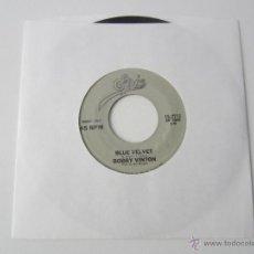 Discos de vinilo: BOBBY VINTON - BLUE VELVET/BLUE ON BLUE 1963 USA SINGLE * FUNDA DE PLASTICO TRANSPARENTE. Lote 48359844