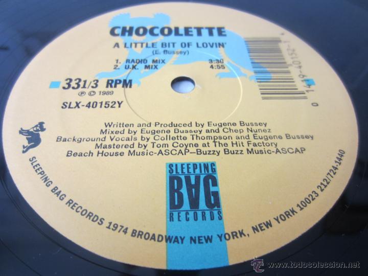 Discos de vinilo: CHOCOLETTE - A LITTLE BIT OF LOVIN (4 VERSIONES) 1989 USA MAXI SINGLE - Foto 3 - 48426042