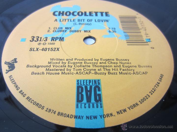 Discos de vinilo: CHOCOLETTE - A LITTLE BIT OF LOVIN (4 VERSIONES) 1989 USA MAXI SINGLE - Foto 4 - 48426042
