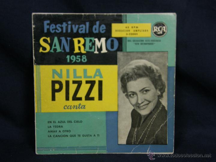 FESTIVAL SAN REMO 1958 NILLA PIZZI EN EL AZUL DEL CIELO LA YEDRA AMAR A OTRO CANCION QUE TE GUSTA TI (Música - Discos - Singles Vinilo - Pop - Rock Extranjero de los 50 y 60)