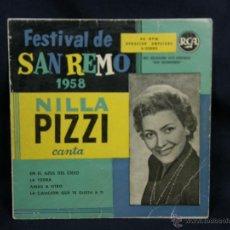 Discos de vinilo: FESTIVAL SAN REMO 1958 NILLA PIZZI EN EL AZUL DEL CIELO LA YEDRA AMAR A OTRO CANCION QUE TE GUSTA TI. Lote 48449496