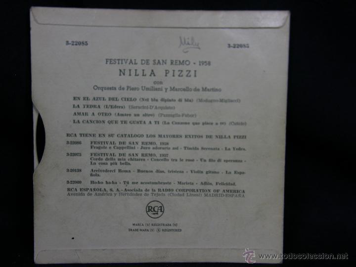 Discos de vinilo: festival san remo 1958 nilla pizzi en el azul del cielo la yedra amar a otro cancion que te gusta ti - Foto 2 - 48449496
