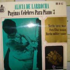 Discos de vinilo: ALICIA DE LARROCHA. PAGINAS CELEBRES PARA PIANO 3 . 1963. Lote 48470817