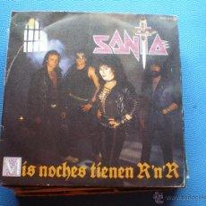 Disques de vinyle: SANTA MIS NOCHES TIENEN ROCK&ROLL + AL LADO DEL DIABLO SINGLE CHAPA DISCOS 1984 PROMO PDELUXE. Lote 48475308