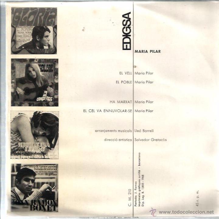 Discos de vinilo: EP MARIA PILAR : EL CEL VA ENNUVOLAR-SE ( ARREGLOS : LLEÓ BORRELL ) - Foto 2 - 48485563