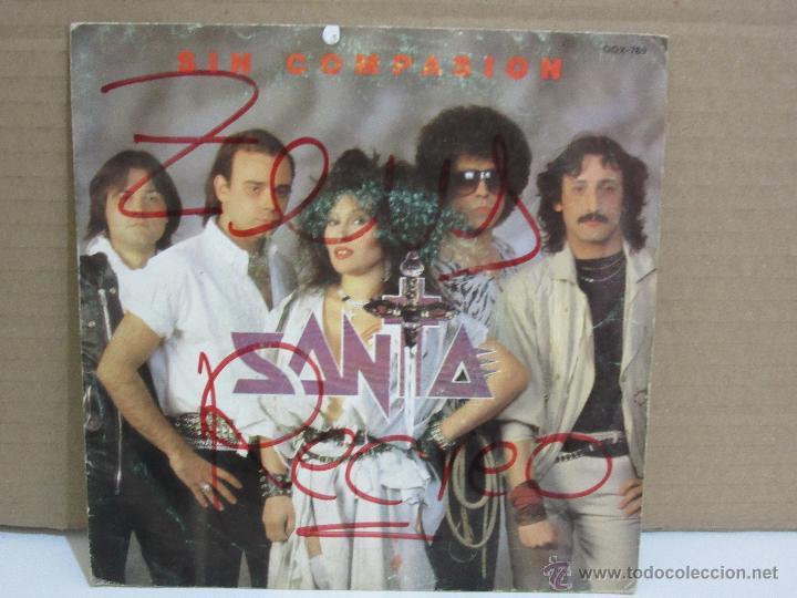 SANTA - SIN COMPASION - SINGLE - CHAPA DISCOS - 1985 - PROMO - VG+/VG (Música - Discos - Singles Vinilo - Heavy - Metal)