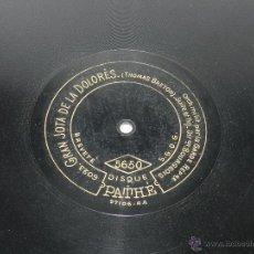 Discos de vinilo: DISCO DE PIZARRA GRAN JOTA DE LA DOLORES, ED. DISCO PATHE, N. 5650, THOMAS BRETON, BUEN ESTADO DE CO. Lote 48511278