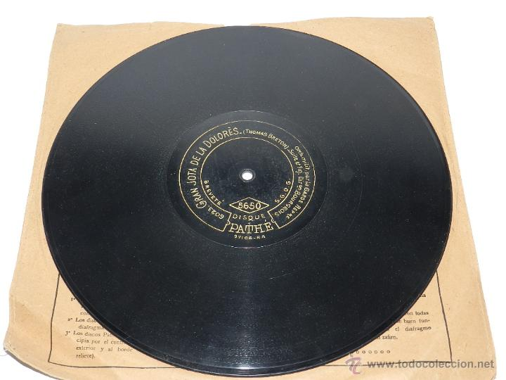 Discos de vinilo: DISCO DE PIZARRA GRAN JOTA DE LA DOLORES, ED. DISCO PATHE, N. 5650, THOMAS BRETON, BUEN ESTADO DE CO - Foto 2 - 48511278