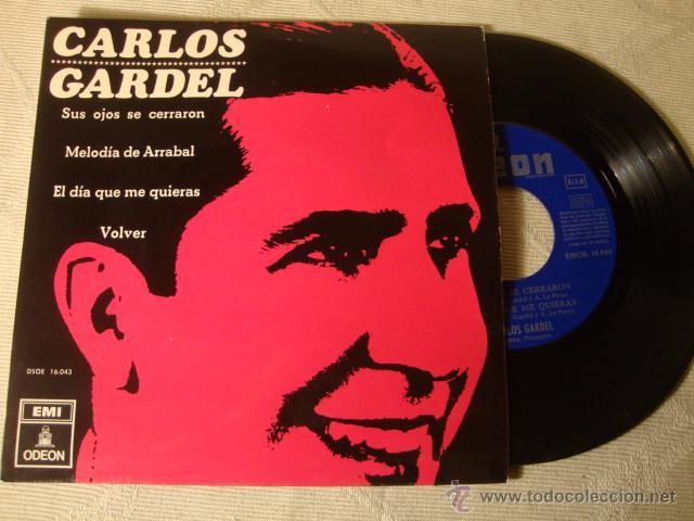 ANTIGUO DISCO SINGLE ORIGINAL EP AÑOS 50/60 CARLOS GARDEL (Música - Discos de Vinilo - EPs - Solistas Españoles de los 50 y 60)
