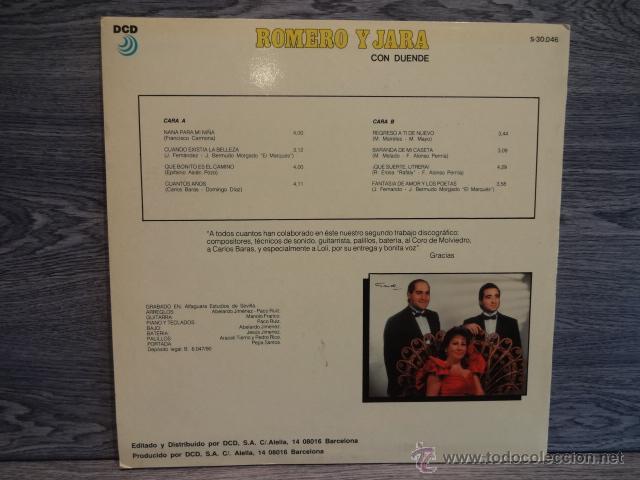 Discos de vinilo: ROMERO Y JARA. CON DUENDE. SEVILLANAS 1990. LP / DCD - 1990. CALIDAD LUJO. ****/**** - Foto 2 - 48521886