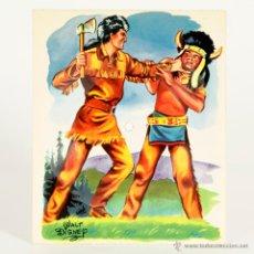 Discos de vinilo: DAVY CROCKETT Y LOS PIELES ROJAS - DISNEY - FONOSCOPE - DISCO TARJETA. AÑO 1958. Lote 48550032