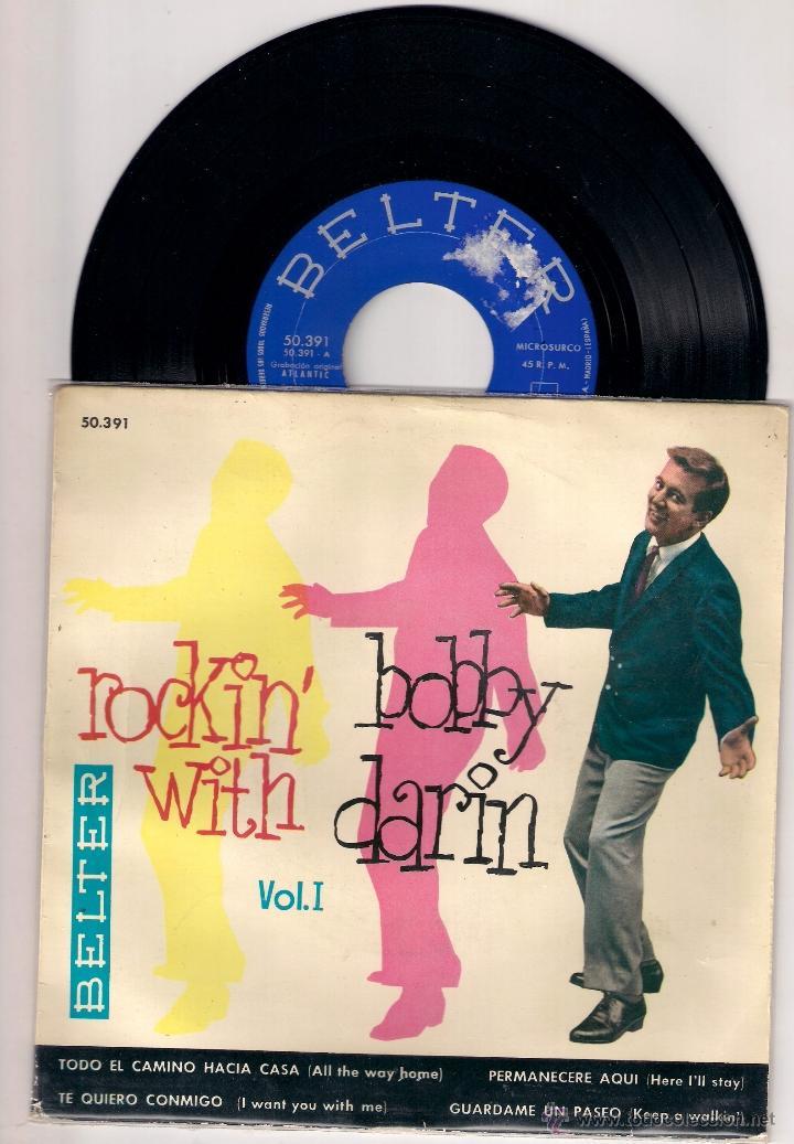 EP BOBBY DARIN; ROCKIN´ WITH VOL. I ALL THE WAY HOME HERE I´LL STAY + 2 (Música - Discos de Vinilo - EPs - Pop - Rock Internacional de los 50 y 60)