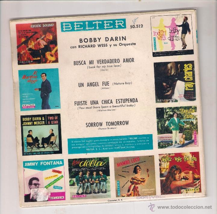 Discos de vinilo: BOBBY DARIN: LOOK FOR MY TRUE LOVE + NATURE BOY + SORROW TOMORROW +1 - Foto 2 - 48593646