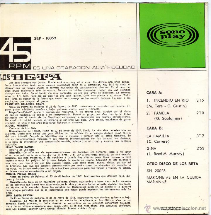 Discos de vinilo: BETA, LOS, EP, INCENDIO EN RIO + 3, AÑO 1967 - Foto 2 - 48597777