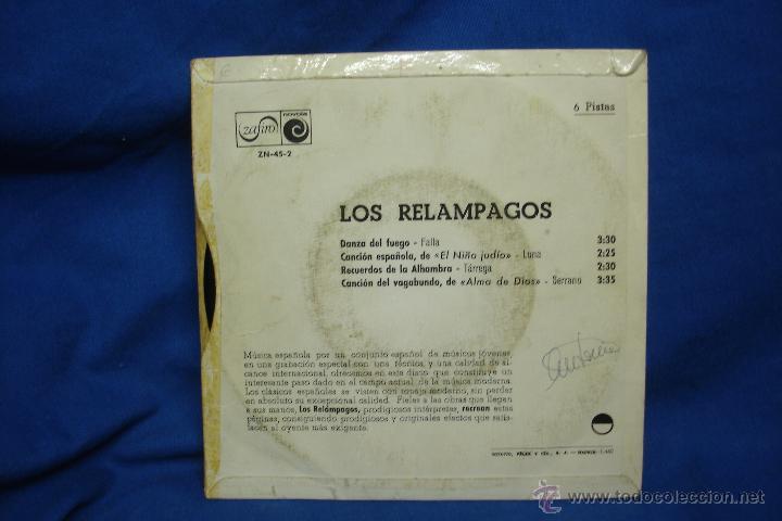 Discos de vinilo: - LOS RELAMPAGOS - DANZA DEL FUEGO + 3 - ZAFIRO 1968 - Foto 2 - 48608774