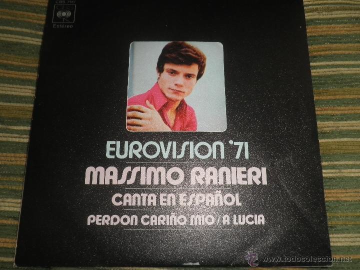 MASSIMO RANIERI - EUROVISION 71 - PERDON CARIÑO MIO (CANTA EN ESPAÑOL) - CBS RECORDS 1971 - ESTEREO (Música - Discos - Singles Vinilo - Festival de Eurovisión)