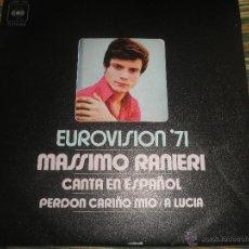 Disques de vinyle: MASSIMO RANIERI - EUROVISION 71 - PERDON CARIÑO MIO (CANTA EN ESPAÑOL) - CBS RECORDS 1971 - ESTEREO . Lote 48659886