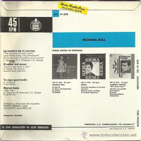 Discos de vinilo: MONNA BELL EP HISPAVOX 1966 la sombra de tu sonrisa (the shadow of your smile-gilberto) +3 ALGUERO - Foto 2 - 48695368